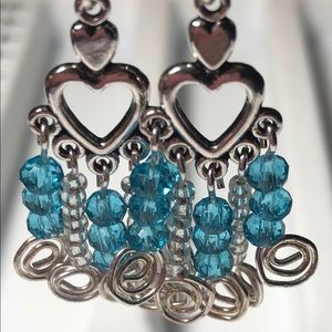 Earrings pair of 2 Dangle Wire Crystals Heart